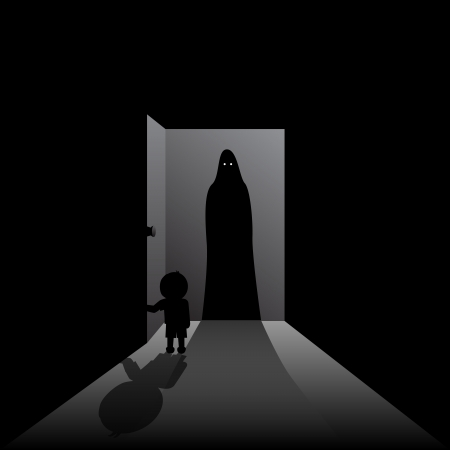 One boy opening the door to a one scary guest  Vector
