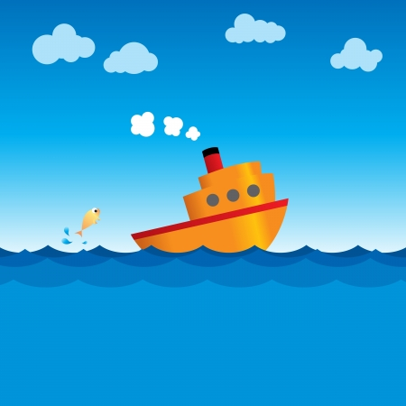 steaming: Illustration of a simple vector ship steaming through the ocean.