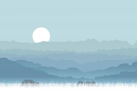 accidentado: Ilustraci�n vectorial de una monta�a solemne y tranquilo y colinas. Vectores