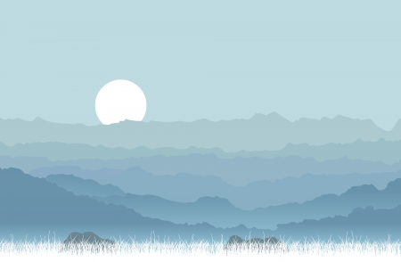 solemn: Vector illustration of a solemn and quiet mountains and hills. Illustration