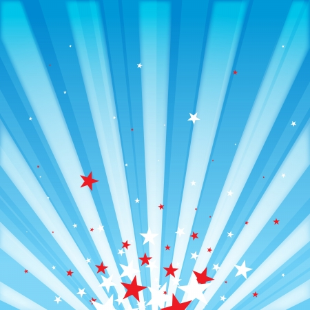 shining star: Vector rays background with stars of white and red, with patriotic theme. Illustration