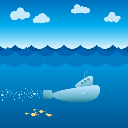 sea transport: Vector illustration of a submarine sailing beneath the ocean.