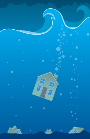 havoc: One house sinking to the bottom of the deep ocean.