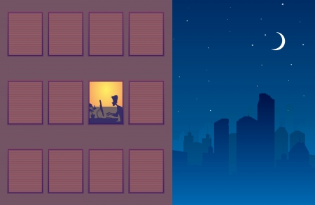workaholic: Illustration of one window still alight showing someone still working through the night.