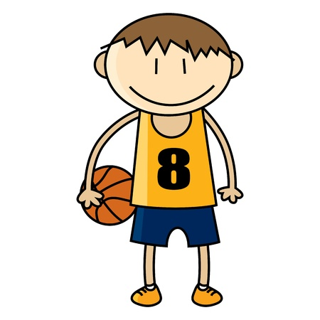 Vector illustration of young basketball player.