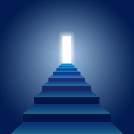 illustration of a stairs that goes to the open door full of light.