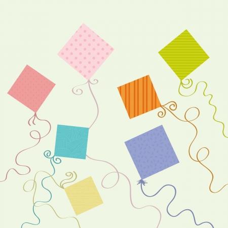 Various colorful kite designs. Stock Illustratie