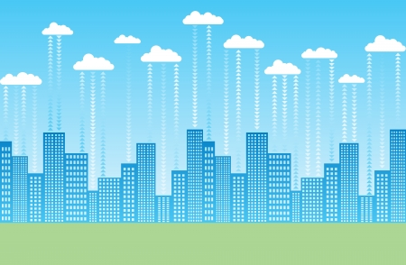 abstract illustration of a cloud-based city. Stock Vector - 15115025