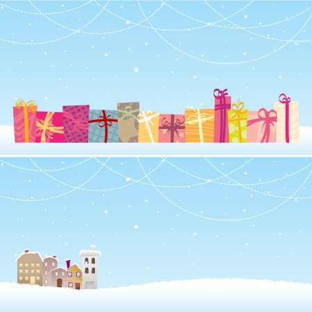 greeting season: Two  christmas banners with different concepts.