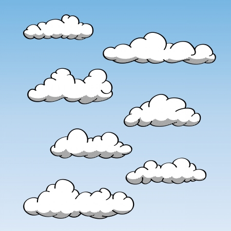 Various hand-drawn illustration of clouds. Stock Vector - 15169251