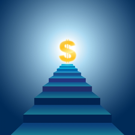 illustration of stairs leading to golden dollar sign. Stock Vector - 15169255