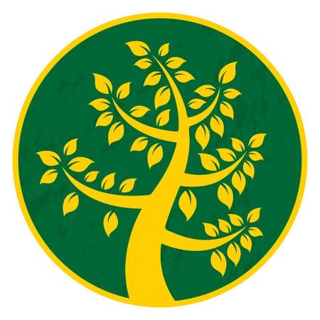 Illustration eines Baumes Symbol mit grün-gelben Kreis.