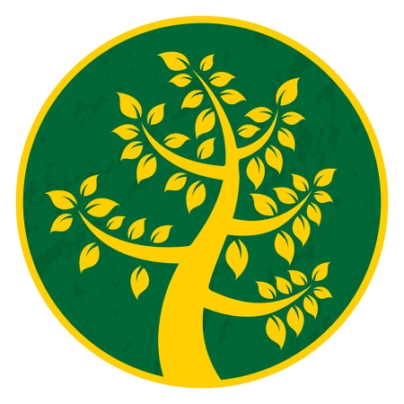 illustration of a tree icon with green-yellow circle. Stock Vector - 15169264