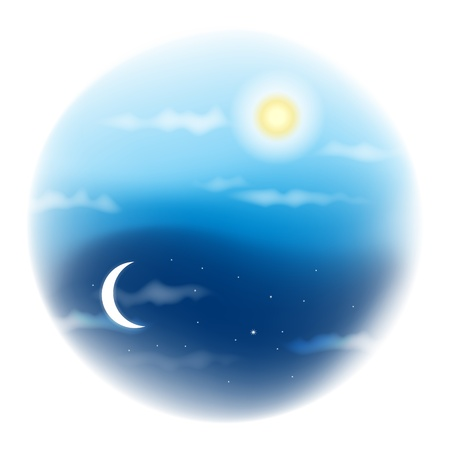 day and night: mesh illustration of daylight and night sky.