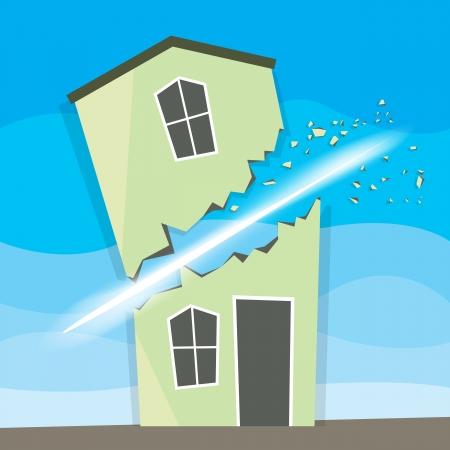 slasher: House slashed and split in two. Illustration