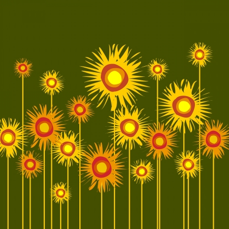 yellowish: Abstract background of several sunflowers.