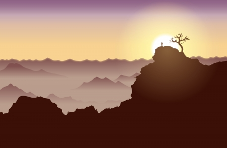 mountainous: Silhouette of a guy standing on top of a high cliff. Illustration