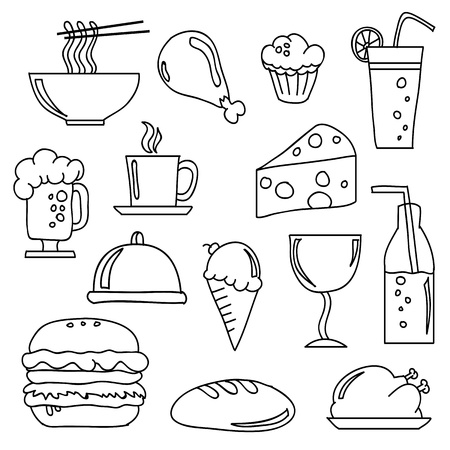 cheese cake:  doodles of various food and beverages. Illustration