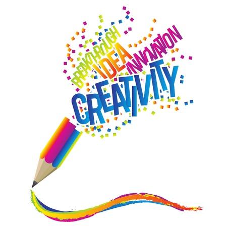 Concept créativité avec un crayon coloré et thème de mots créatives.