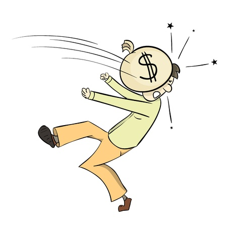 obsessed: Man hit by a pouch of money. Illustration