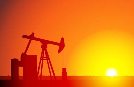 derrick: silhouette of an oil derrick in sunset background. Illustration