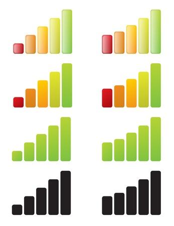 diseño de los elementos de barras de la señal de dispositivo inalámbrico electrónico. Ilustración de vector