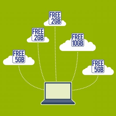 Laptop supported by various free cloud storages. Stock Vector - 15400556