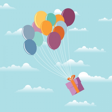 Gift wrapping flying in support with several colorful balloons. Stock Vector - 15400557