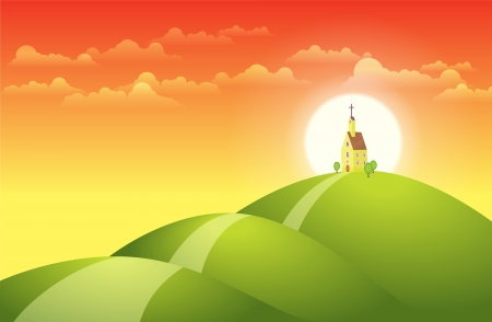 hill top: illustration of a church on top of the hill with the sunset at the background. Illustration