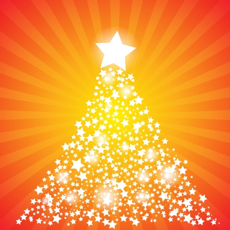 illustration of abstract christmas tree made of stars.