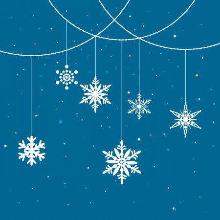 blue background of hanging christmas-themed snowflakes. Stock Vector - 15565518