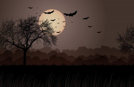 background of dark creepy night at the edge of the forest. Stock Illustratie