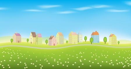 illustration of landscape full of houses. Stock Vector - 15565521
