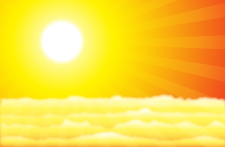 yellowish: scene of bright shining sun on top of the clouds. Illustration