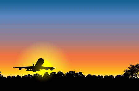 leaving: silhouette of a large airplane leaving the city at sunset. Illustration