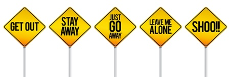 get out: warning signs to keep distance.
