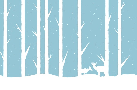 winter forest: abstract illustration of a winter forest with two deers.