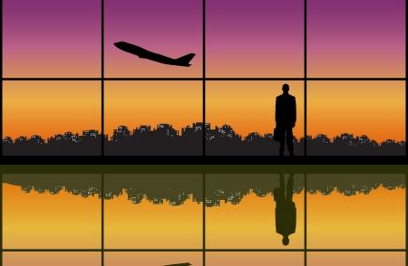 taking off: Silueta de un hombre de negocios mirando un avi�n que despegue en el aeropuerto.