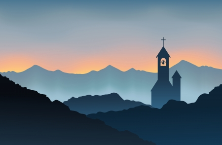 church bells: Silhouette of a monastery on top of the mountains at dusk.