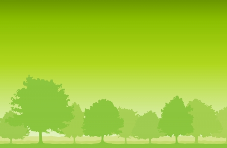 background of layers of green trees. Stock Vector - 15665751