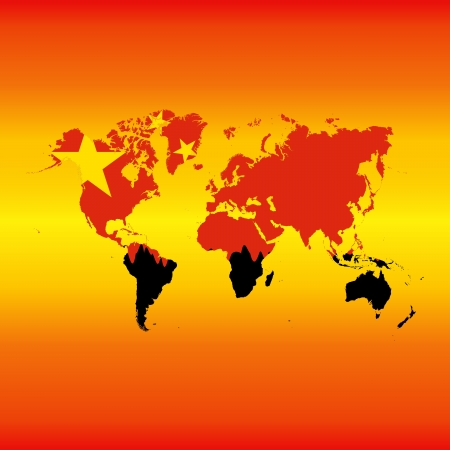 engulf: illustration of Chinese flag engulfing the world. Illustration