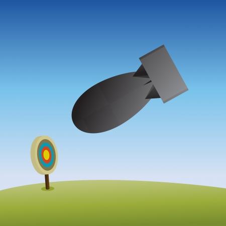 senseless: illustration of an atom bomb dropped to destroy a target mark.
