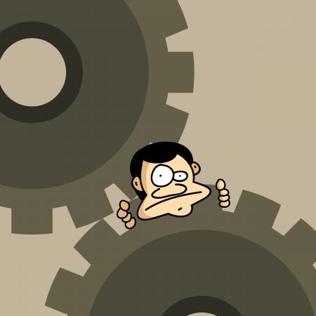 illustratie van een mens vast op een paar mechanische versnellingen.
