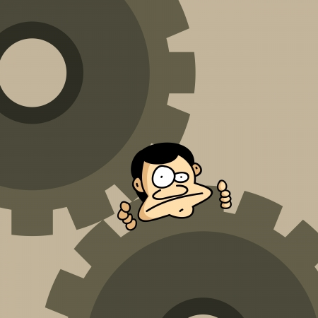 stuck: illustration of a man stuck on a pair of mechanical gears. Illustration