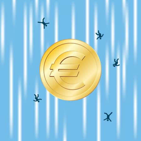 unfortunate: Gold coin with Euro currency sign free falling with several unlucky people.