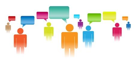 percepción: ilustración del concepto de pueblo cifras que expresen sus opiniones. Vectores