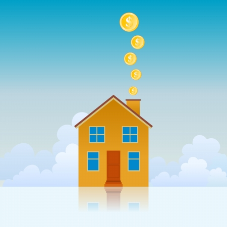 House with its chimney spewing gold coins. Stock Vector - 15806039