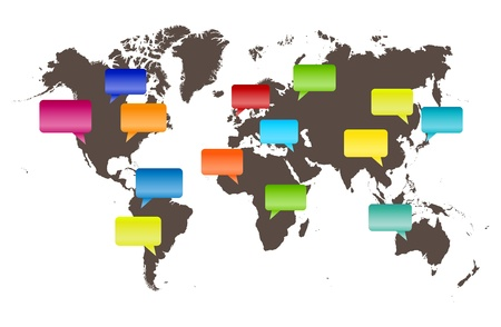 voices: illustration of talk bubbles representing voices from all over the world.