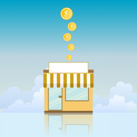 franchise: illustration of a small store yielding gold coins. Illustration