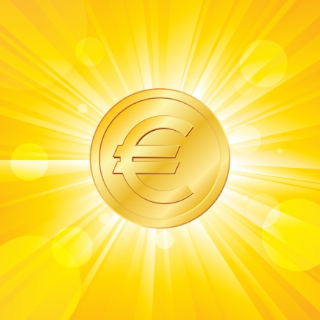illustration of an euro coin on yellow rays background. Vector